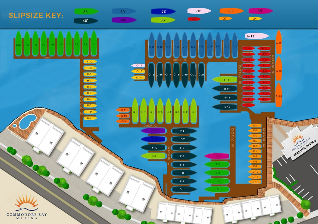 Commodore Bay Marina Dock Layout